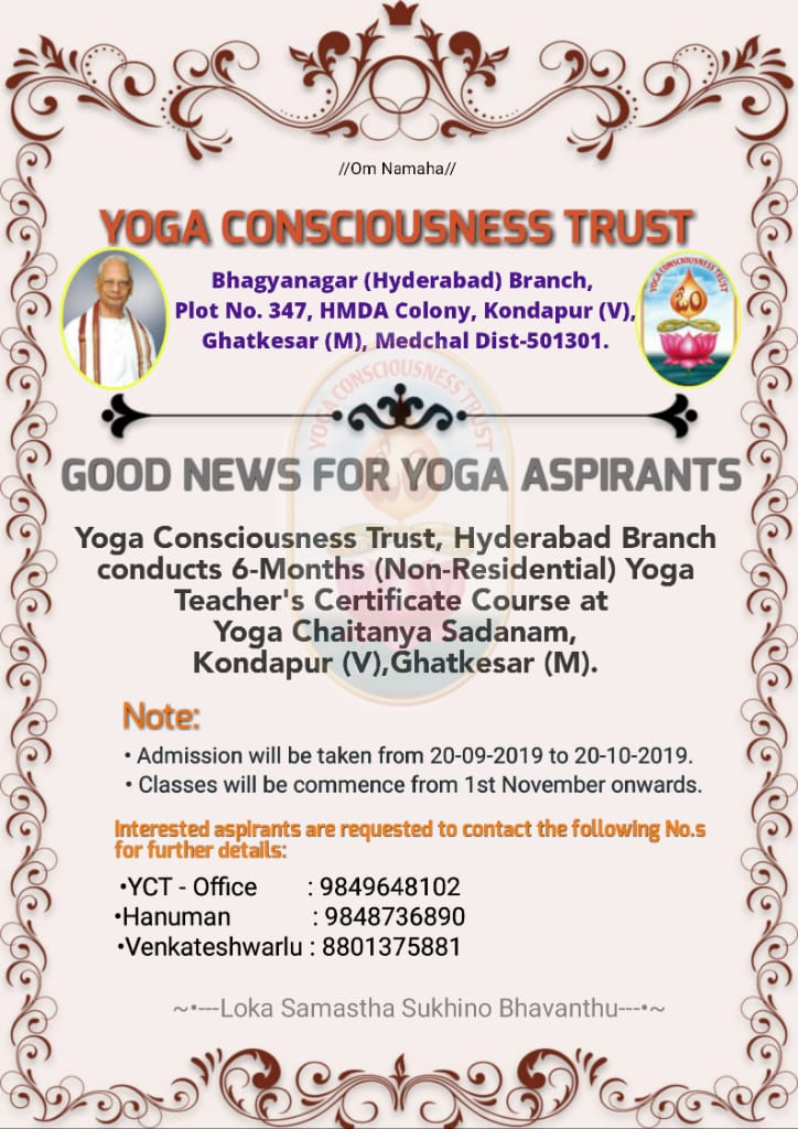 Yoga teacher's certificate course, Kondapur